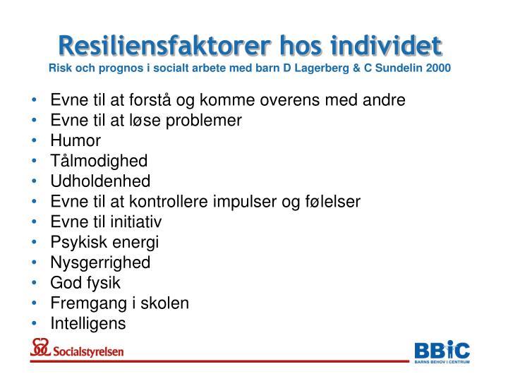 Resiliensfaktorer hos individet