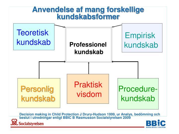 Anvendelse af mang forskellige kundskabsformer