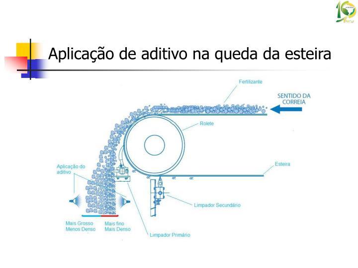 Aplicação de aditivo na queda da esteira