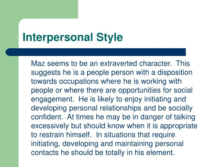 Interpersonal Style