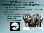 sncc pronounced snick s tudent n onviolent c oordinating c ommittee