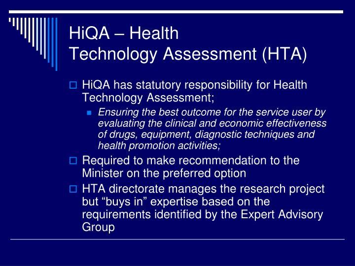 Hiqa health technology assessment hta