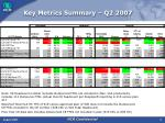 key metrics summary q2 2007