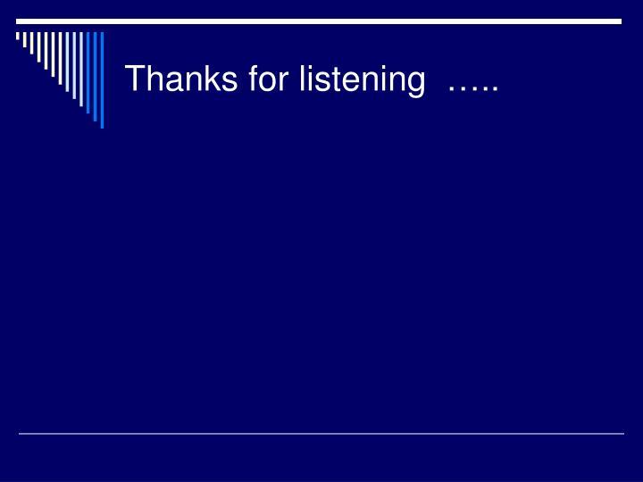 Thanks for listening…..
