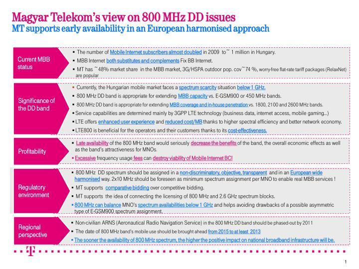 Magyar Telekom's view on 800 MHz DD issues