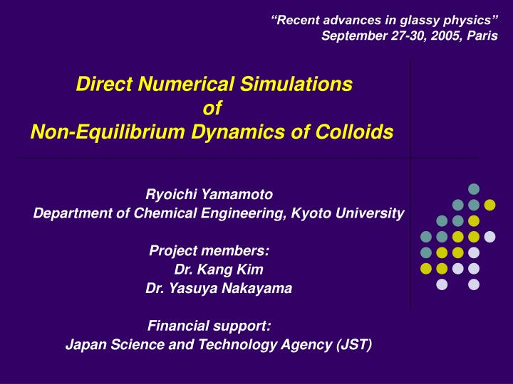 direct numerical simulations of non equilibrium dynamics of colloids