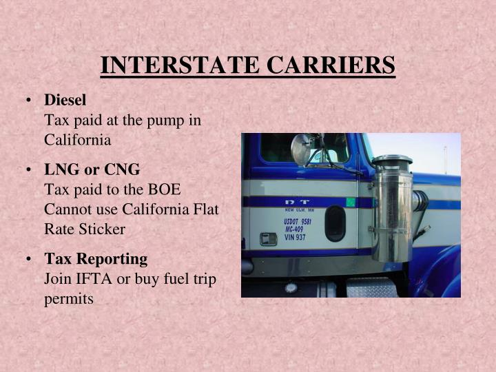 INTERSTATE CARRIERS