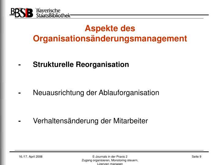 Aspekte des Organisationsänderungsmanagement