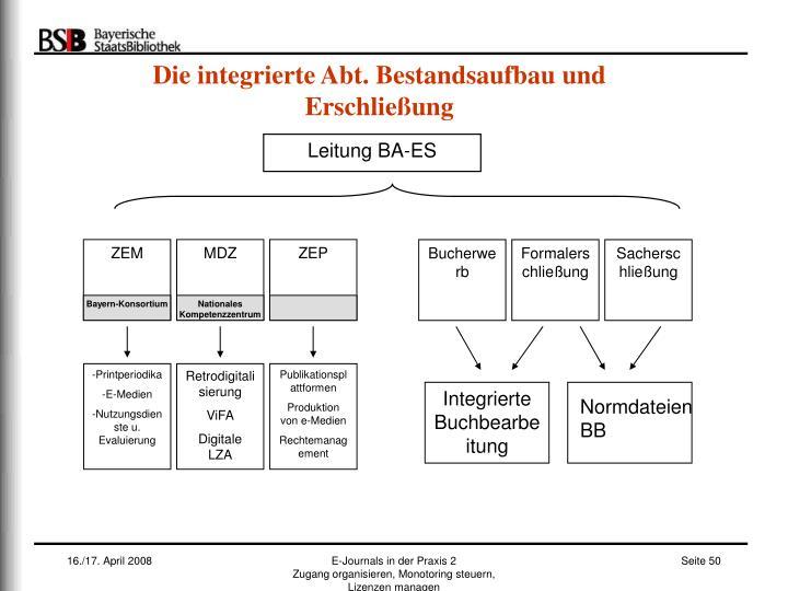Die integrierte Abt. Bestandsaufbau und Erschließung