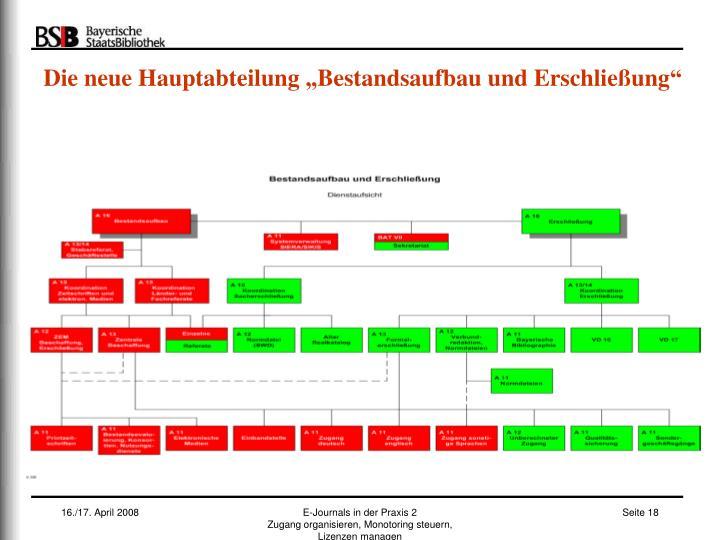 """Die neue Hauptabteilung """"Bestandsaufbau und Erschließung"""""""