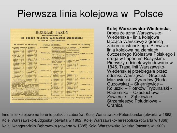 Pierwsza linia kolejowa w polsce