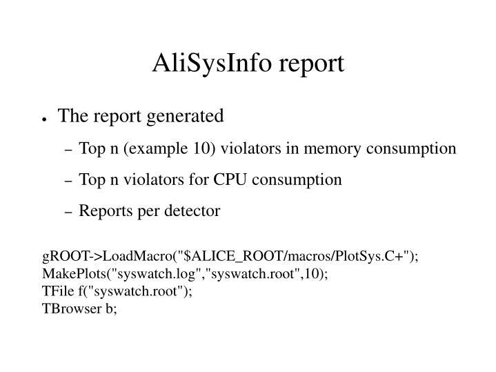 AliSysInfo report