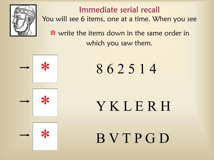 Immediate serial recall