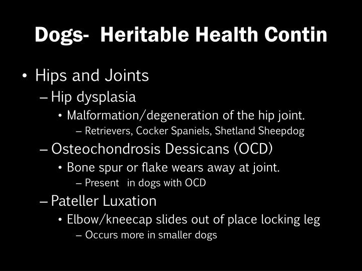 Dogs-  Heritable Health Contin