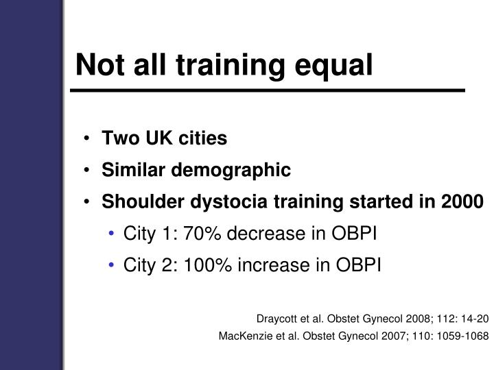 Not all training equal