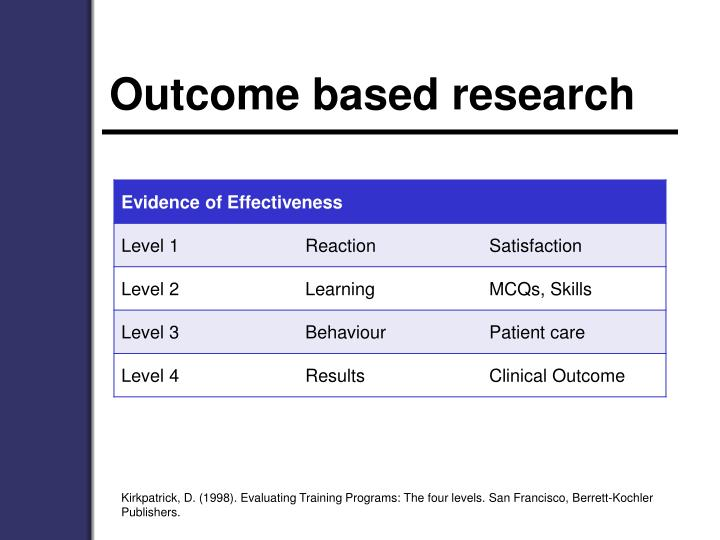 Outcome based research