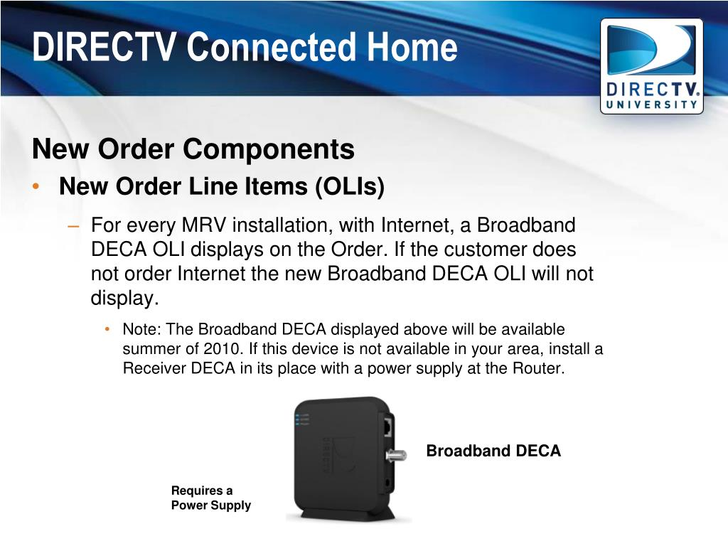 PPT - DIRECTV Connected Home Work Order Training May 5, 2010