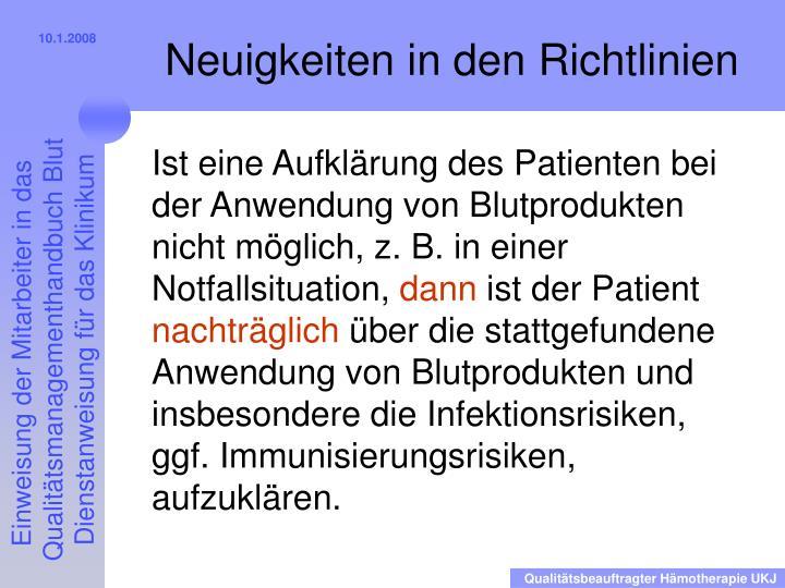 Ist eine Aufklärung des Patienten bei der Anwendung von Blutprodukten nicht möglich, z. B. in einer Notfallsituation,