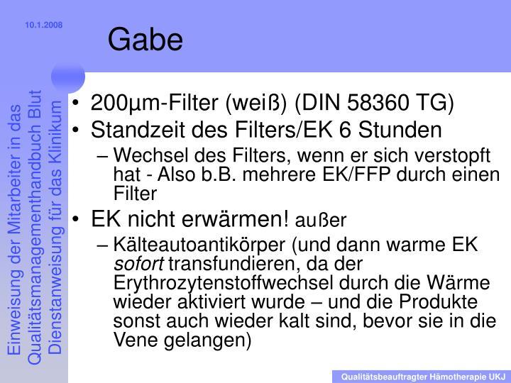 200µm-Filter (weiß) (DIN 58360 TG)