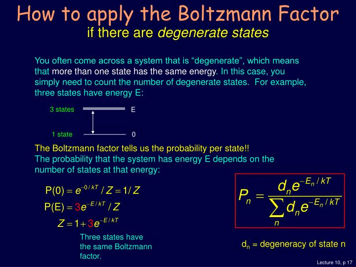 How to apply the Boltzmann Factor