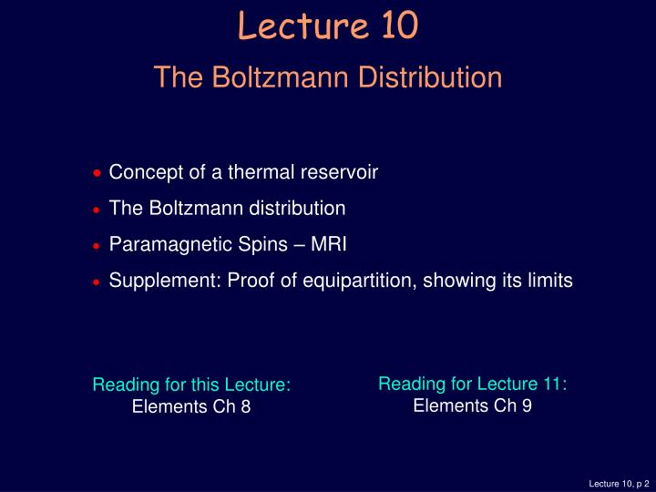 Lecture 10 the boltzmann distribution