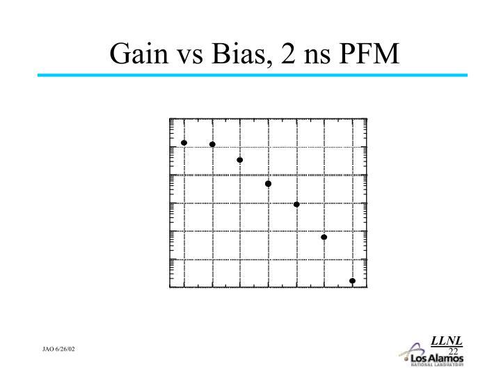 Gain vs Bias, 2 ns PFM