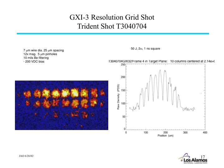 GXI-3 Resolution Grid Shot
