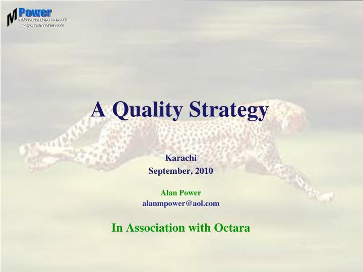 a quality strategy n.
