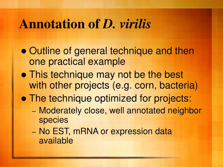 Annotation of d virilis