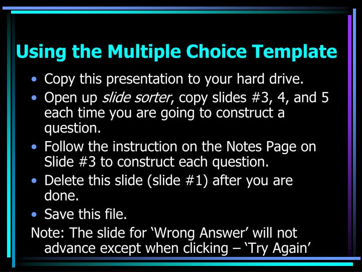 using the multiple choice template n.