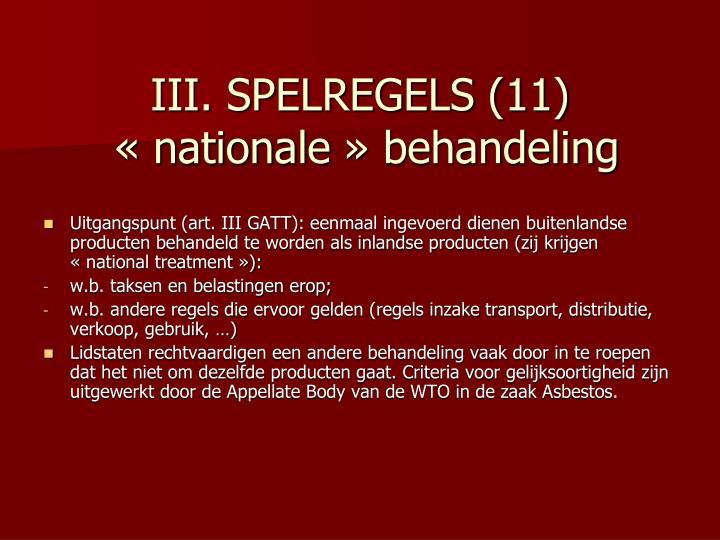 III. SPELREGELS (11)