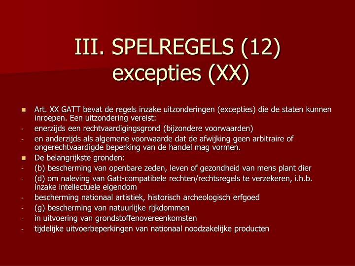 III. SPELREGELS (12)