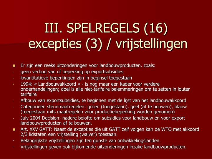 III. SPELREGELS (16)