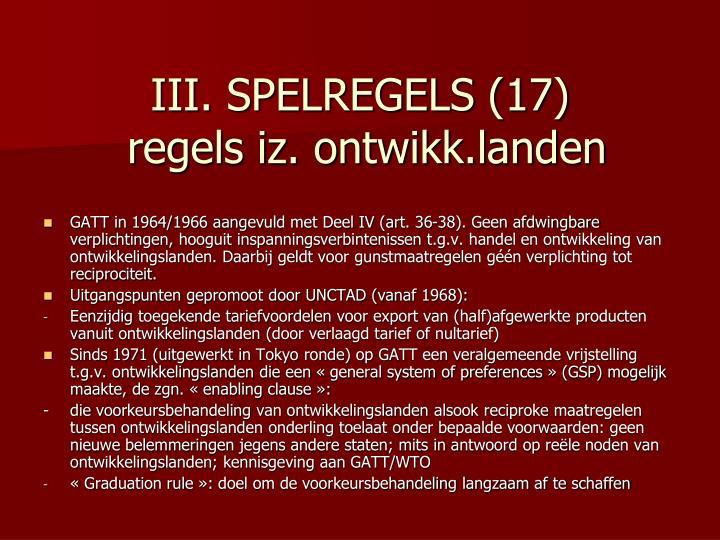 III. SPELREGELS (17)