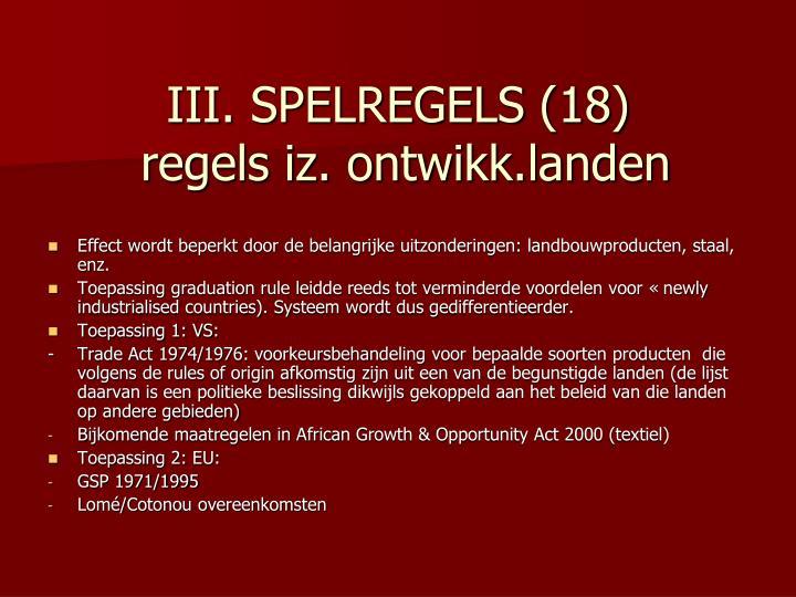 III. SPELREGELS (18)