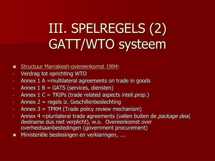 III. SPELREGELS (2)