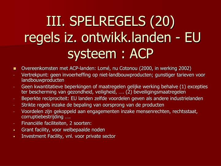 III. SPELREGELS (20)