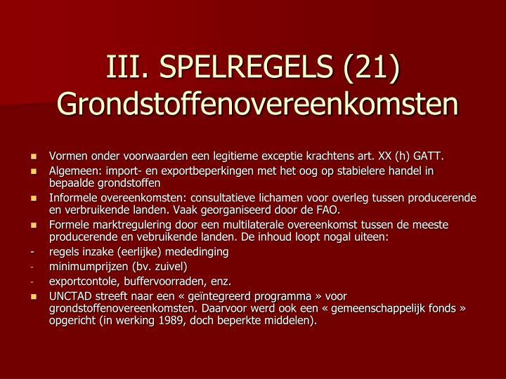 III. SPELREGELS (21)