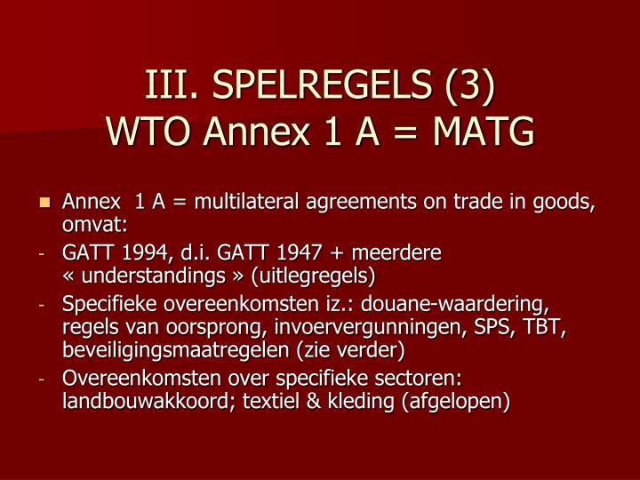 III. SPELREGELS (3)