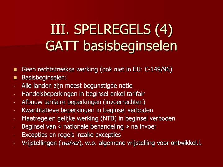 III. SPELREGELS (4)