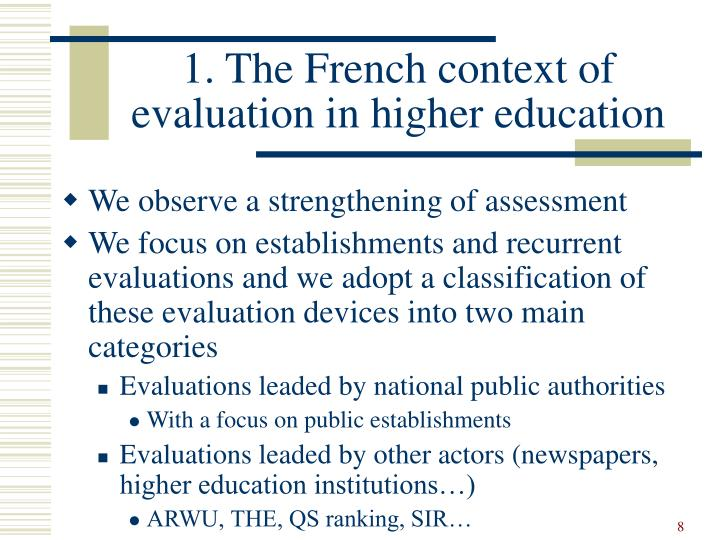 1. The French context of