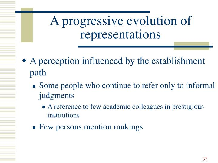 A progressive evolution of representations