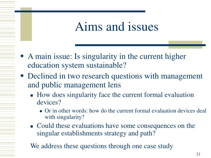 Aims and issues