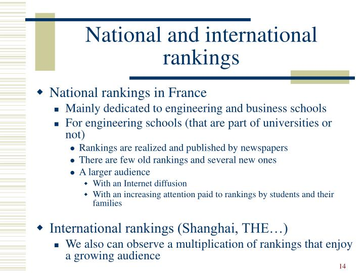 National and international rankings
