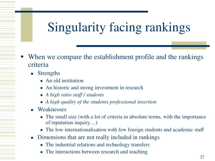 Singularity facing rankings