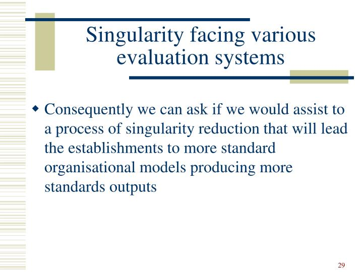 Singularity facing various evaluation systems