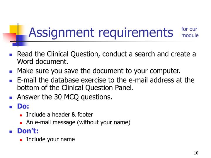 Read the Clinical Question, conduct a search and create a Word document.