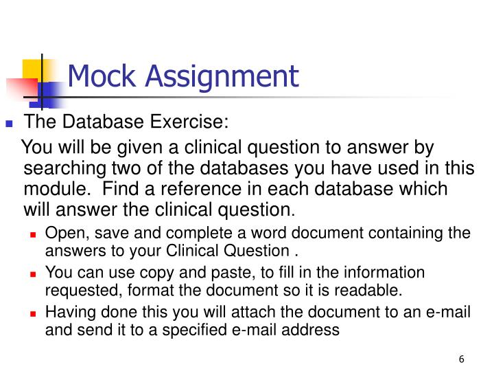 Mock Assignment