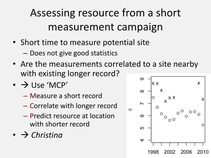 Assessing resource from a short measurement campaign