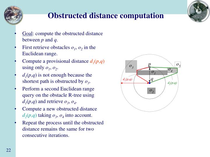 Obstructed distance computation